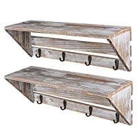Hossejoy Rustic Wood Entryway Wall Shelf Hanging Shelf 16.5