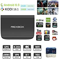Leeron Android 6.0 NEXBOX Smart TV Box 4K Amlogic S912 Chipset Quad Core 2G/ 16G conWiFi HDMI DLNA Kodi 16.1 Full Loaded Streaming Media Players