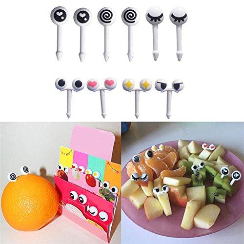 livecity 100Cute Eye Mini Lebensmittel Fruit Picks Kid Gabeln Bento Lunch Box Werkzeug Geschirr, Polypropylen, mix, Mini