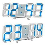 GANGHENGYU Uhren, 3D LED Digital Wecker Electronic Office Wandhalterung, 24/12 Stundenanzeige, Helligkeit Auto Dimmbare Home Küche Desktop Schlafzimmer Wohnzimmer Uhr (blau)
