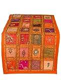 Tribe Azure Fair Trade Corredor de tabla naranja bordado a mano boho colorido bohemio patchwork moderna decoración del patrón floral 18 pulgadas por 50 pulgadas Color Rojo Anaranjado