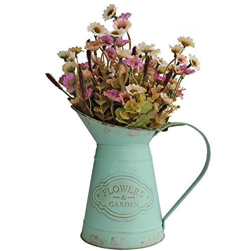 HyFanStr Jarrón de metal estilo francés para flores rústico jarra planta jardín decoración
