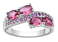 Smile YKK Women Platinum-Plated 925 Sterling Silver Hotpink Red Round Crystal Zincon Ring 7
