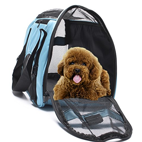 Display4top Pet Travel Carrier Comfort Expandable Foldable Travel bag for Dogs and Cats( 43cm x 20cm x 28cm) (Pale blue)