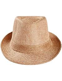 Overdose Sombrero de Paja para Sol Unisex de Color sólido Fresco Gorra de  gángster Banda de cb3f7f04c67