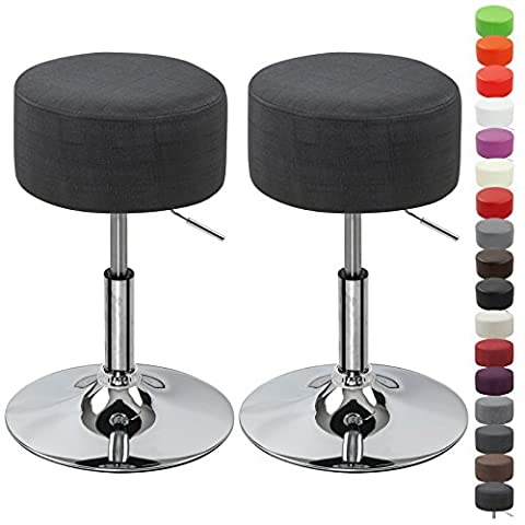 WOLTU BH62sz-2 Round Bar Stool Set of 2 Height Adjustable Kitchen Stool with Linen Fabric Seat