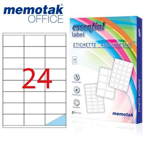 Packung mit 100Blatt A4Etiketten Aufkleber memotak Format in Millimeter 70x 362400Etiketten für Behälter