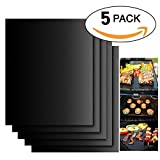 Tegollus BBQ Grill Mat Set of 5 - Non Stick Oven Liner Teflon Cooking Mats - Perfect for Baking on Gas, Charcoal, Oven and Electric Grills - Reusable, Durable, Heat Resistant Barbecue Sheets For Grilling Meat, Veggies, Seafood