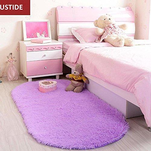 Ustide shaggy camera da letto tappetini in velluto soggiorno decorativo tappeto viola super morbido posteriore antiscivolo floor tappeti, ovale