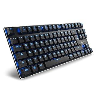 Sharkoon PureWriter TKL Red Mechanische Low Profile-Tastatur (mit flachen Tasten, Tenkeyless, blauer LED Beleuchtung, Beleuchtungseffekten, abnehmbarem USB Kabel) schwarz