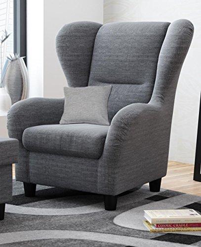 Ohrensessel grau | Relaxsessel | Fernsehsessel | Stoff | Zierkissen | schwarze Holzfüße | B/H/T ca. 90/98/76 cm