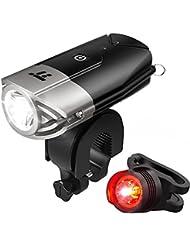 Fahrradbeleuchtung TaoTronics LED Fahrradlicht usb Fahrradlampe Set Frontlicht & Rücklicht (Starkes / Schwaches Licht / Blinkmodus, IP65 Wasserdicht, USB Wiederaufladbar)