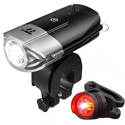 Fahrradbeleuchtung TaoTronics Fahrradlicht LED Wiederaufladbares Fahrradlampen Set Frontlicht & Rücklicht (Starkes / Schwaches Licht / Blinkmodus, IP65 Wasserdicht, USB Wiederaufladbar)