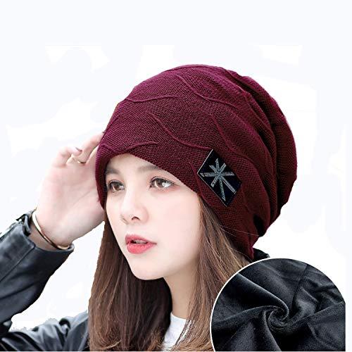 Nosterappou Gestrickte Plus samt Hut weich und bequem Hut weibliche Winter Wolle Hut Mode Baotou Kappe warme Flut Kappe für männer und Frauen gelten (Farbe : Rotwein)