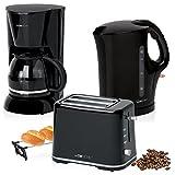 Set Frühstück, Kaffeemaschine 14Tassen, Brot 2Scheiben-Toaster, Wasserkocher 1,7Liter, Schwarz Colour Up Stil