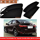 #9: Autofact Magnetic Window Sunshades/Curtains for Toyota Corolla Altis (2015 to 2018) [Set of 4pc - Front 2pc With Zipper ; Rear 2pc Without Zipper] (Black)
