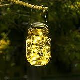 Lumières de Jardin Solaire - Lampe Led Solaire Mason Jar Lumières Guirlande Led De Jardin Eclairage exterieur Solaire pour Jardin, Patio, Pont, Allée et Garage comme applique exterieur (Blanc chaud)