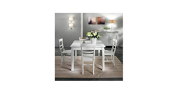 Estea Mobili Tavolo 110x110 Allungabile Design Country Moderno Bianco Legno Massello 341t Come Foto Amazon It Casa E Cucina