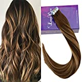 LaaVoo 14' Tape in Extensions Adhesives Remy Brazilian Hair Marron Fonce Balayage Caramel Blonde Adhesif Extension Cheveux Tie and Dye 50Gramme/20Pcs