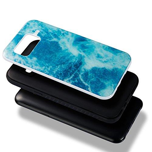 Meet de iphone 6 /iphone 6S Coque, Une variété de conceptions de marbre de couleur Combo Hybride Dual Layer TPU +PC Etui Antichoc Robuste Housse Protection Armure Case pour iphone 6 /iphone 6S(rose) Ocean blue