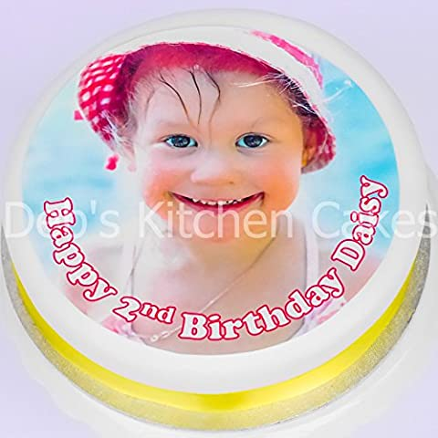 Your Own Photo + Message Personalised Cake Topper - Edible Wafer 7.5