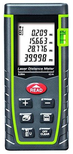 Entfernungsmesser,topowson Laser Distanzmesser 40m, Tragbarer Griff Digital Messgerät Werkzeug Reichweite Finder mit Bubble Level und große Hintergrundbeleuchtung LCD 4 Line Display (40m / 131ft)