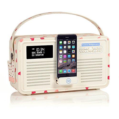 VQ Retro Mk II DAB/DAB+ Digital- und FM-Radio mit Bluetooth, Apple Lightning Dock und Weckfunktion - Emma Bridgewater Rosa Herzen