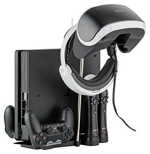 GAMINGER PS4 Slim VR und Move Ladestation Standfuß für VR-Brille, 2 Move Controller und 2 Dualshock Controller