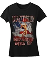 Led Zeppelin - Womens America 1977 T-Shirt in Black