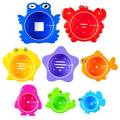 aGreatLife® Stapelbecher Baby - Badeeimer für Kleinkinder und Babies als Badewannenspielzeug - Strandspielzeug oder Sandkastenspielzeug - 8 Eimerchen mit Sticker zum bekleben und Zählen Lernen