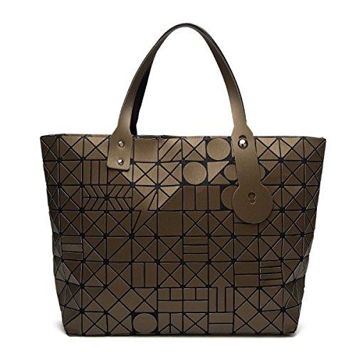 FZHLY Fashion Trend Signore Pacchetto Laser Geometrica Ling Griglia Singola Spalla Bag,Black Gold