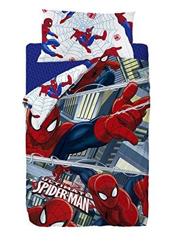 Marvel Ropa (Marvel Spiderman-Bettbezug, aus Baumwoll-Polyester, mehrfarbig, für Bett mit Größe 80/95 cm (Einzelbett), 190 x 90 x 25 cm, 2 Teile)