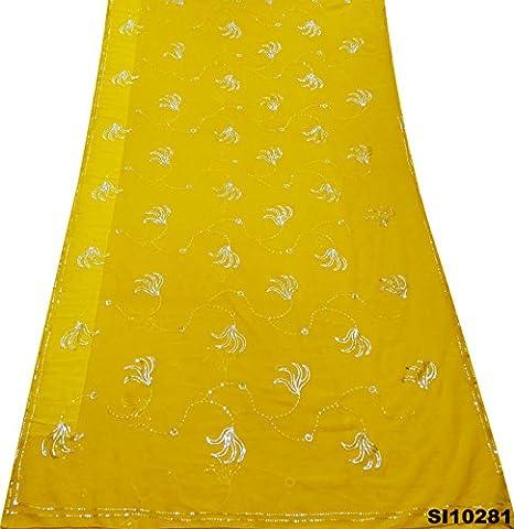 Indian Vintage Saree Embroidered Dress Georgette Chiffon Sequins Work Used Art Décor DIY Craft Fabric Women Ethnic Fashion Sari
