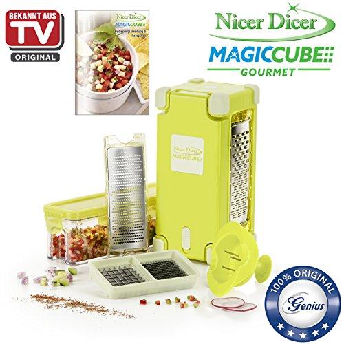 Genius Nicer Dicer Magic Cube Gourmet | 9 Teile | Alles-Schneider | Obst- und Gemüseschneider Mini-küchenmaschine Reibe