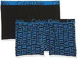 Calvin Klein Herren Boxershorts 2P Trunk, 2er Pack, Blau (Reversed Logo Print Brandeis Rvb), Small