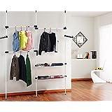 Penderie - Garde-robe Téléscopique en métal Etanche Amovible Multifonction 200x320cm - Charge max. 90 Kg - Couleur Blanche