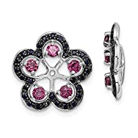 925 Sterling Silver Rhodium plated Rhodolite Garnet and Black Sapphire Earrings Jacket Jewelry Gifts for Women