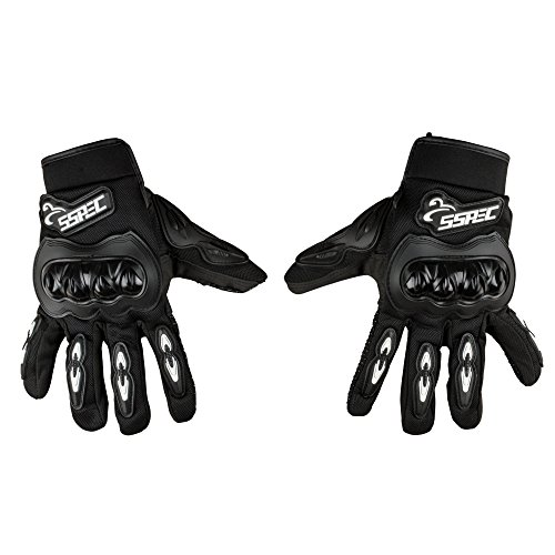 Autofy SSPEC Universal Full Fingers Leather Riding Gloves/Hand Gloves (Black, White/M)