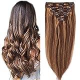 Clip in Extensions Echthaar Remy Haarverlängerung für komplette Haare 8 Tressen Doppelt Dicke 35cm-120g(#4/27 Schokobraun/Dunkelblond)