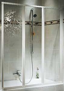 Schulte D1300 04 50 Pare-baignoire pliant 3 volets H 140 x L 127 cm Verre Transparent/blanc (Import Allemagne)