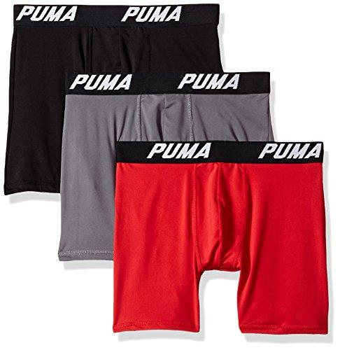 Puma Uomo Boxer Slip Volume, 3pezzi Rosso / Grigio / Nero