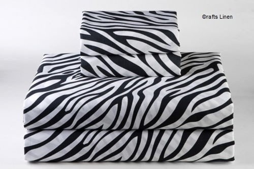 Crafts Leinen Ägyptische Baumwolle Scala Super Soft Satin 4-Bettlaken-Set, Zebra Print, 220X240 Cm
