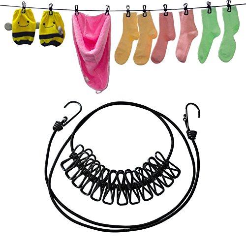 Preisvergleich Produktbild Bewegliche Spielraum-elastische Wäscheleine justierbare Wäscheleine mit 12pcs Wäscheklammern für im Freien und Innengebrauch (Schwarzes)