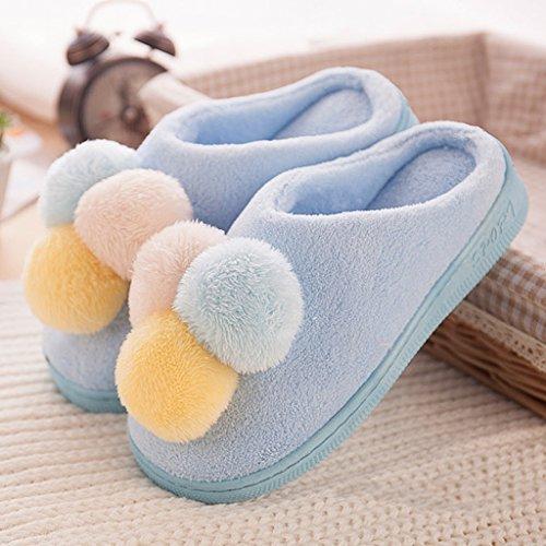 Pantoufles en coton pour femme Chaussures en hiver à glissière antidérapantes ( Couleur : Rose , taille : EUR:37-38 ) Bleu