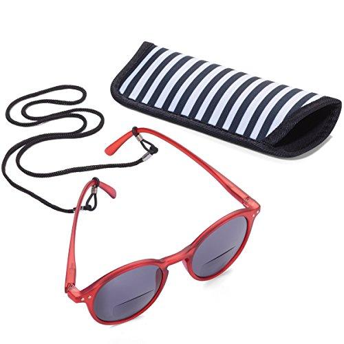 Troika SUN READER 2 - SUR20/RD- Lesesonnenbrille mit Etui - bifokal - Stärke +2,00 dpt - Lesebrille + Sonnenbrille - Polykarbonat/Acryl/Mikrofaser - rot - das Original