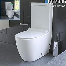 Inodoro de diseño con cisterna Geberit, cerámica, juego de asiento de inodoro Soft Close (función Quick-Release)