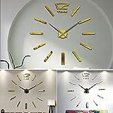 Murieo Wanduhr DIY Uhr, 90cm-1,2m DIY Wand Uhr Analog aus Eva, Acryl Geeignet für Alle Glatten Oberflächen(Gold)