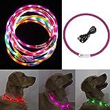 Freebily LED Hundehalsband Leuchtendes Halsbänder Blinkender LED Hunde Sicherheits Halsband für Hunde,Haustier 70cm Fuchsia One Size