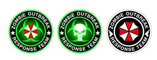 Umbrella Corporation Zombie Bio Hazard Punisher Outbreak Response Team x3 Aufkleber Sticker + Gratis Schlüsselringanhänger aus Kokosnuss-Schale + Resident Evil Raccoon City Nemesis Walking Dead