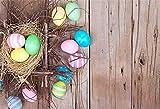 YongFoto 1,5x1m poliestere Sfondo Fotografico Ramo di nido di uccello uova dipinte di Pasqua Tavola di legno vintage Fondale Foto Festa Bambini Boby Nozze Adulto Partito Studio Fotografico Puntelli